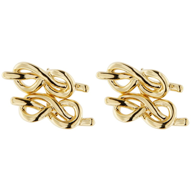 Jona 18 Karat Yellow Gold Knot Cufflinks