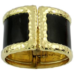 Wide Yellow Gold Cuff Bracelet with Hammer Finish and Black Enamel