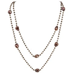 Brown Baroque Pearls and Diamond Rose Gold Necklace
