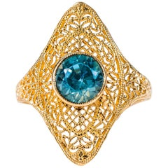 1.25 Carat Blue Zircon and 14K Gold Filigree Ring