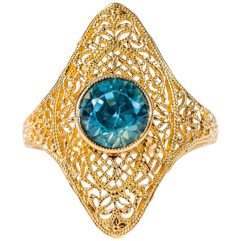 1.25 Carat Blue Zircon and 14K Gold Filigree Ring