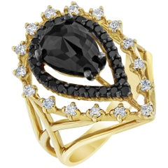 2.86 Carat Pear Cut Black Diamond Yellow Gold Cocktail Ring