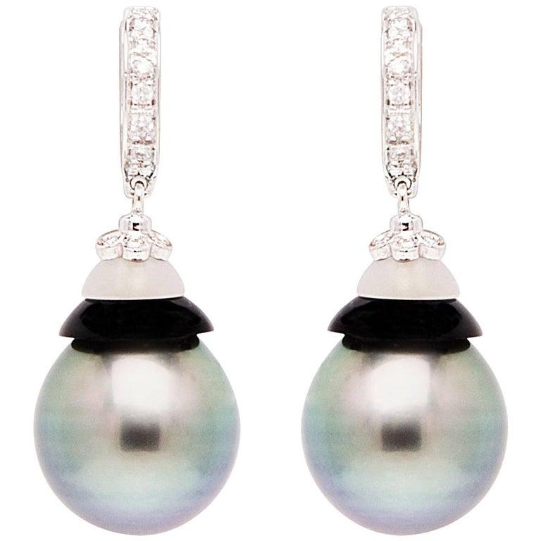 Ella Gafter Black Tahitian Pearl Diamond White Gold Hoop Drop Earrings