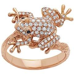18 Karat Rose Gold Leaping Diamond Frog Diamond Ring