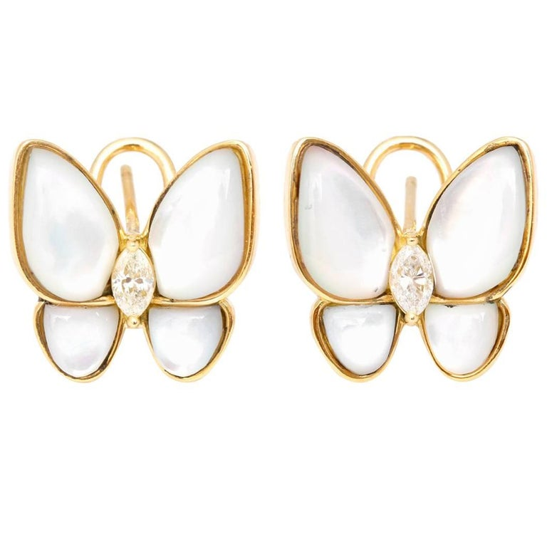 18 Karat Yellow Gold Mother-of-Pearl Diamond Butterfly Earrings