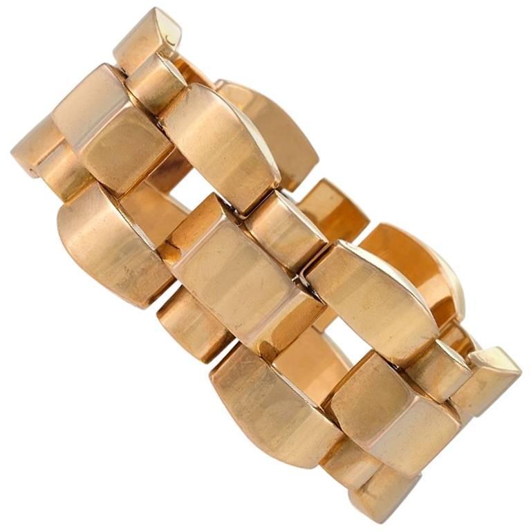 Gold Tank Track Link Bracelet