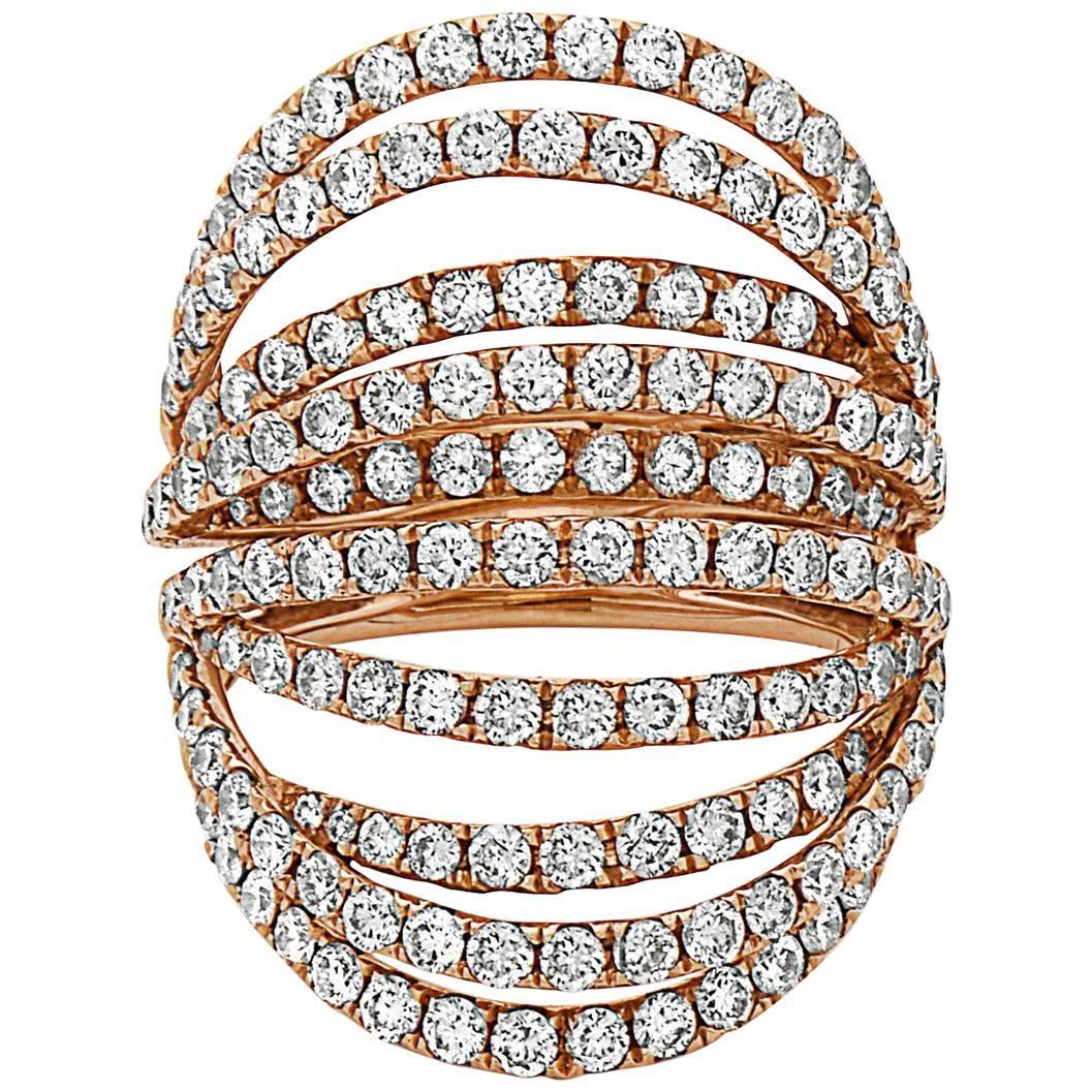 Emilio Jewelry Handmade Open Work Rose Gold Diamond Ring