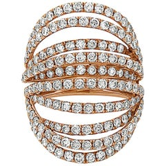 Handmade Open Work Rose Gold Diamond Ring