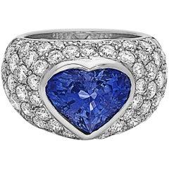 Approx 7.65 Carat Heart Sapphire Diamond Ring