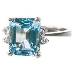 5 Carat Aquamarine, Diamond and 14K Gold Ring