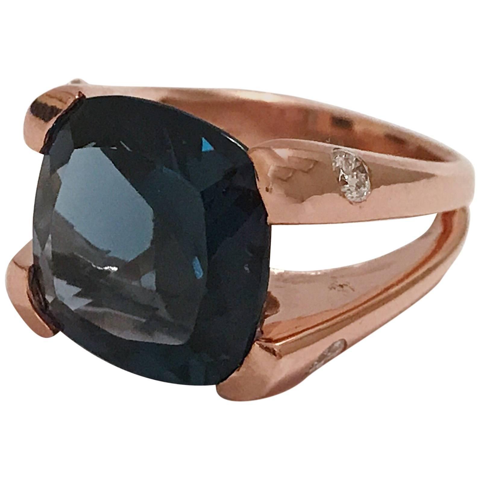 London Blue Topaz Large Cushion Ring with Diamond Sides