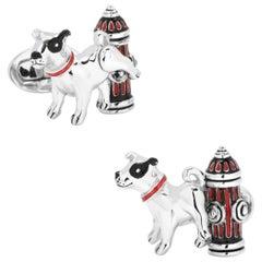 Jan Leslie Dog with Hydrant Enamel Sterling Silver Cufflinks