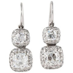 Platinum Old Mine Cut Diamond Earrings