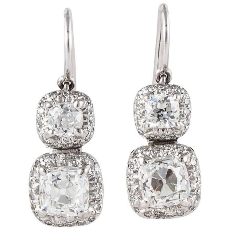 Platinum Old Mine Cut Diamond Earrings