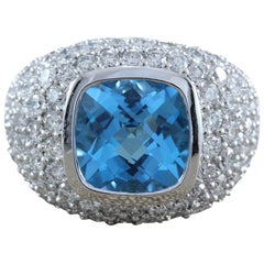 Blue Topaz Diamond Gold Cocktail Ring