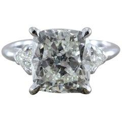 5 Carat Cushion Cut Diamond Gold Engagement Ring