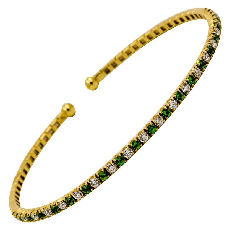 18 K Yellow Gold, Diamond and Tsavorite Garnet Cuff Bracelet