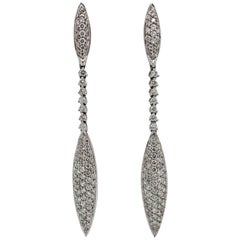 Ladies 18 Karat White Gold and Pave Diamond Marquise Dangle Earrings