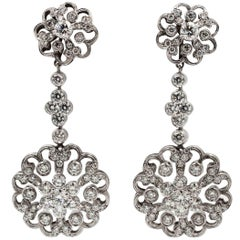 Jack Kelege Platinum 3.43 Carats Diamond Dangle Earrings