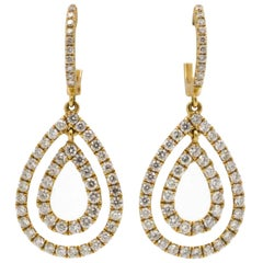 18 Karat Yellow Gold and Diamond Drop Earrings