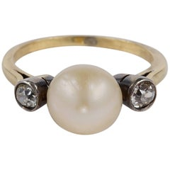 Rare Natural Pearl and Diamond Trilogy Ring