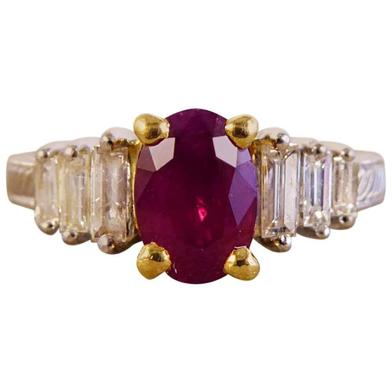 Contemporary Ruby and Diamond Ring Set in Platinum and 18 Carat Gold