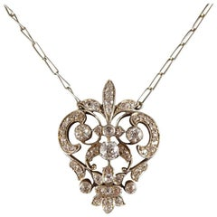 Antique Victorian Diamond Pendant Necklace, Gold Backed and Silver Fronted