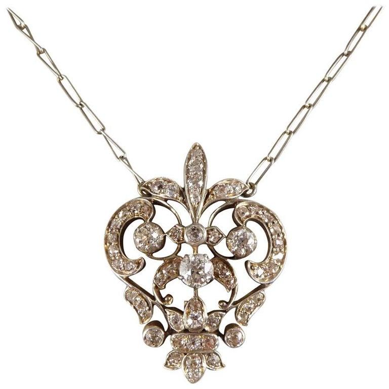 Antique victorian diamond pendant necklace gold backed and silver antique victorian diamond pendant necklace gold backed and silver fronted for sale aloadofball Images