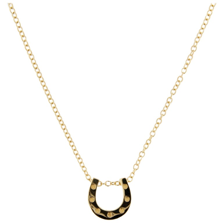 Jona Horseshoe 18 Karat Yellow Gold Sliding Pendant Necklace