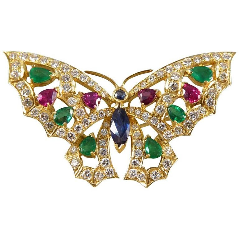 Contemporary Diamond, Emerald, Ruby and Sapphire Brooch in 18 Carat Gold