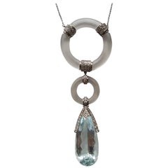Aquamarine Diamond and Rock Crystal Pendant with Chain