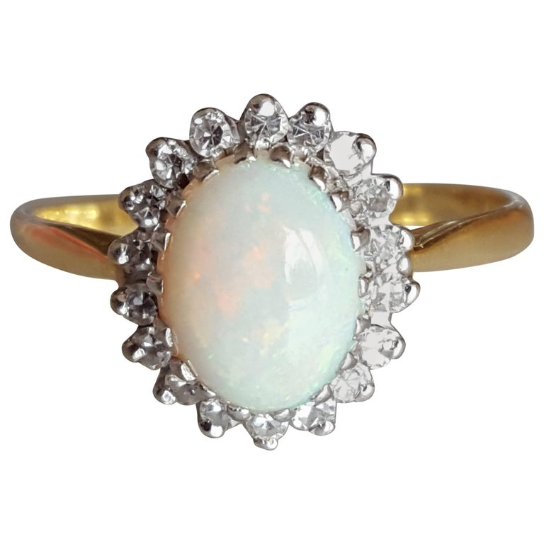 18K Vintage Opal Diamond Yellow Gold Halo Ring