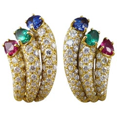 Vintage Diamond, Emerald, Ruby and Sapphire Clip Back Earrings in 18 Carat Gold