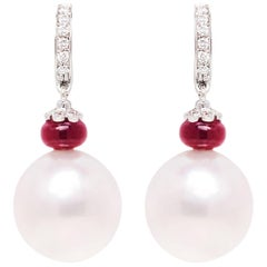 Ella Gafter South Sea Pearl and Diamond White Gold  Drop Earrings