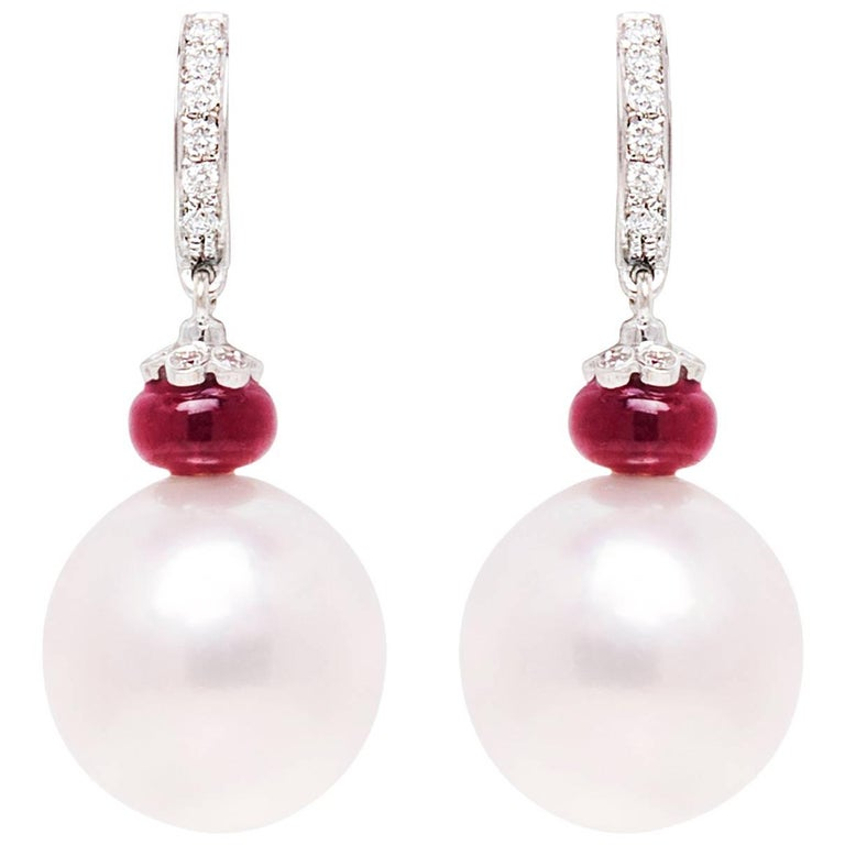 Ella Gafter South Sea Pearl and Diamond White Gold  Hoop Drop Earrings