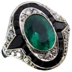 Exquisite Emerald Diamond Calibrated Onyx Platinum Ring