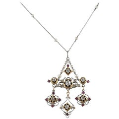 Victorian Holbeinesque Diamond Ruby Natural Pearl Enameled Necklace