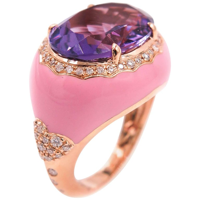 Amethyst Diamond and Pink Enamel Cocktail Ring