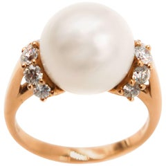South Sea Pearl Diamond Rose Gold Ring