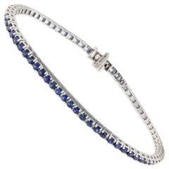 Jona Blue Sapphire 18 Karat White Gold Tennis Bracelet