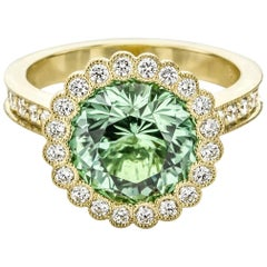 One of a Kind Green Tourmaline and Diamond Ring