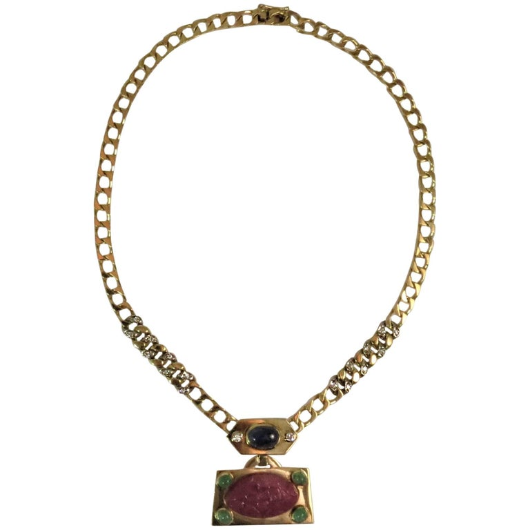 18 Karat Gold Necklace with Carved Ruby, Diamonds, Cabochon Sapphire, Emeralds