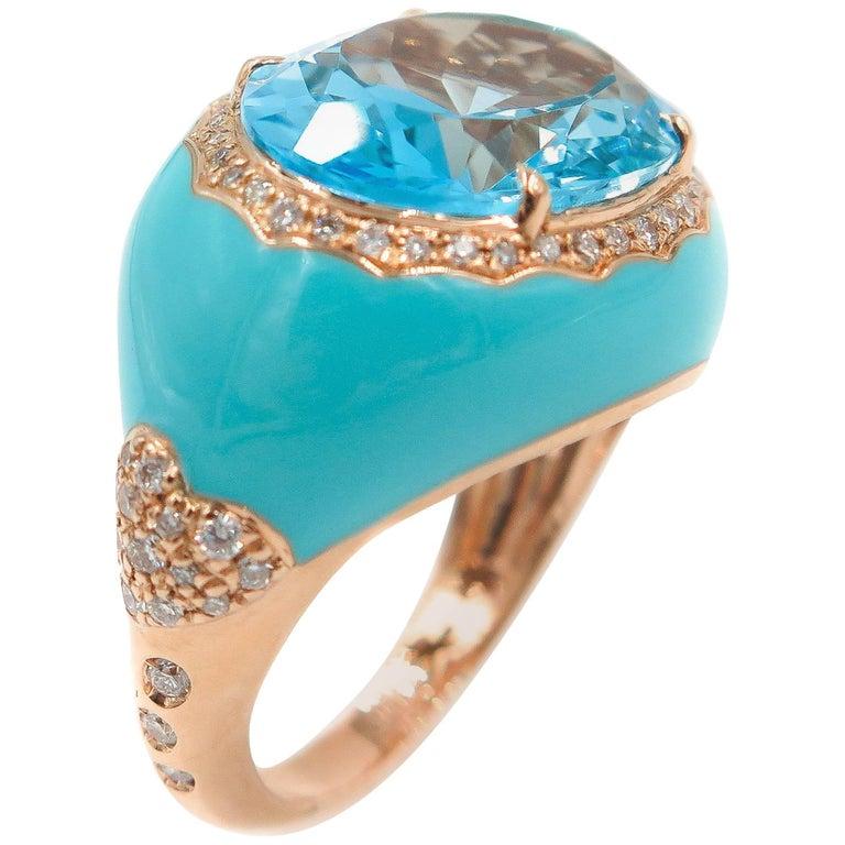 Blue Topaz Diamond Enamel Ring
