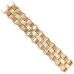 18 Karat Rose and Yellow Gold Retro Bracelet