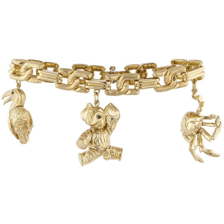 Henry Dunay 18 Karat Charm Bracelet
