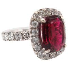 Platinum Rubellite Diamond Cocktail Ring