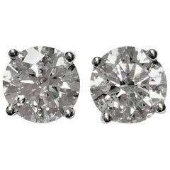 4.60 Carat Total Weight Diamond Ear Studs