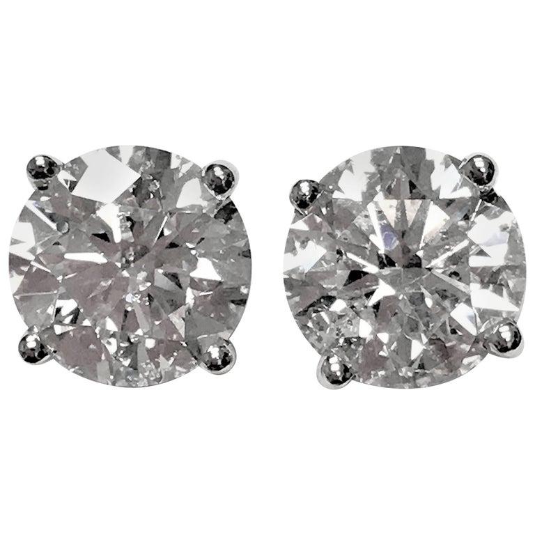 4.60 Carat Total Weight Diamond Ear Studs 1