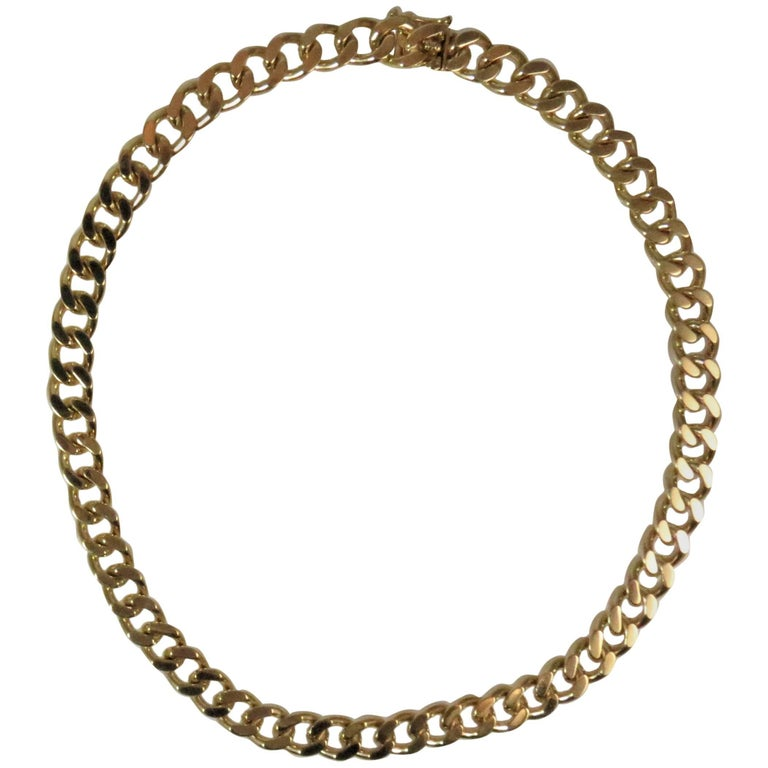 14 Karat Yellow Gold Curb Link Necklace