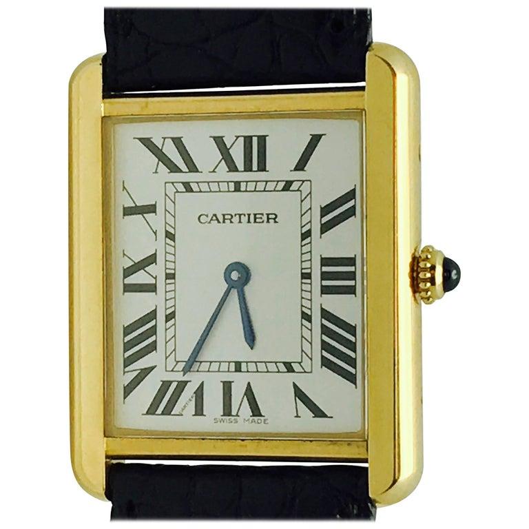 Cartier Stainless Steel Tank solo 2742 Quartz Wristwatch  1